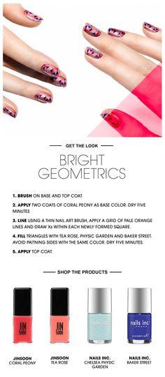 Beauty HOW TO: Bright Geometric Nails #Sephora #SephoraNailspotting #JINsoon #nailsinc #nailart