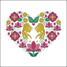 Ornamental Heart with lotuses and fish cross stitch by LaMariaCha, $5.00