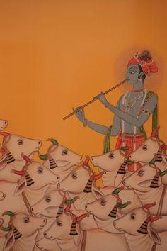 The Royal Atelier: Preserving the Legacy of Miniature Paintings in Kishangarh – Storytellers of Wonder Cow Painting, Krishna Painting, Madhubani Painting, Krishna Art, Painting Tips, Watercolor Painting, Pichwai Paintings, Indian Art Paintings, Abstract Paintings