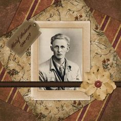 Herluf Andersen, 1922-1978 ~ Simple and striking heritage portrait page with a subtle mix of patterned papers.