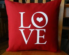 Items similar to Love Pillow Cover, Valentine Love Pillow, Valentine's Day Gift, Love Text, fits insert (insert not included) other sizes available on Etsy Valentines Day Party, Valentines For Kids, Valentine Crafts, Valentine Pillow, Printed Cushions, Christmas Gift Guide, Red Gifts, Home Gifts, Pillow Covers