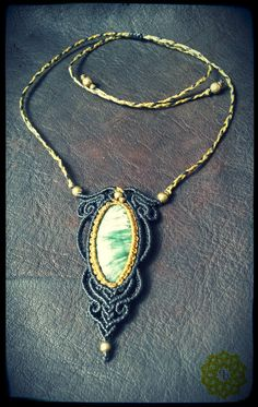Macrame necklace with Seraphinite* by EarthBoundMacrame on Etsy
