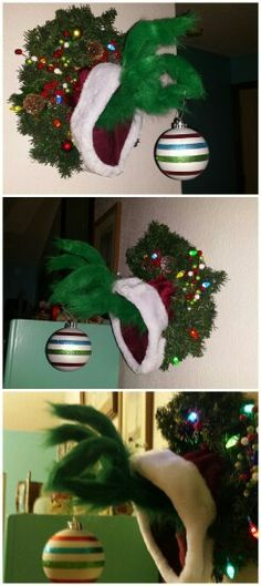 DIY Grinch Christmas Crafts and Decorations Grinch Christmas Decorations, Grinch Christmas Party, Noel Christmas, Winter Christmas, Christmas Wreaths, Christmas Ornaments, Funny Christmas, Grinch Party, Whimsical Christmas