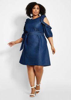 Plus Size Ruffle Cold Shoulder Denim Dress Short African Dresses, African Fashion Dresses, Fashion Outfits, Casual Dresses Plus Size, Plus Size Outfits, Ankara Dress Designs, Vetement Fashion, All Jeans, Classy Dress