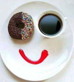 happy coffee donut /breakfast of champions Happy Coffee, Good Morning Coffee, Good Morning Friends, I Love Coffee, Coffee Art, Coffee Break, My Coffee, Happy Morning, Café Chocolate