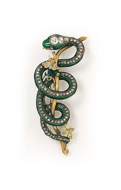 Snake MID 19TH CENTURY GOLD, DIAMOND AND ENAMEL BROOCH. uploaded by www.1stand2ndtimearound.etsy.com - Get the most out of buying your jewelry! Find out how at http://jewelrytipsnow.com/how-to-make-the-most-out-of-buying-your-jewelry/