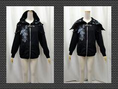 【楽天市場】ゴスロリ ゴスパンク 2ウエイスカルスタッズ装飾パーカー裏起毛黒:PARROT