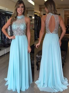 Beaded Long Chiffon Prom Dress Backless Dresses, dress, clothe, women's fashion, outfit inspiration, pretty clothes, shoes, bags and accessories