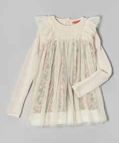 Off-White Floral Ruffle Layered Tunic - Toddler & Girls