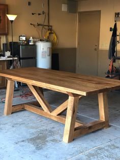 This Red Oak Trestle Farm Table is just one of the custom, handmade pieces you'll find in our kitchen & dining tables shops. Diy Dining Room Table, Patio Table, Diy Table, Dining Furniture, Furniture Projects, Diy Furniture, Outdoor Farm Table, Farm Tables, Furniture Design