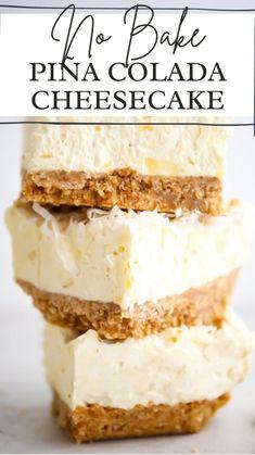 Banana Cheesecake, Easy Cheesecake Recipes, Easy No Bake Desserts, Easy Cake Recipes, Baking Recipes, Delicious Desserts, Banana Dessert Recipes, Banana Bars, Layered Desserts