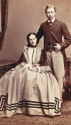 A very young and lovely portrait of TRH Crown Prince Edward and Princess Alexandra (later King Edward VII and Queen Alexandra).  Alexandra is my closest cousin in the Windsor line, except for the Duke of Edinburgh (both are fellow descendants of King Christian IX of Denmark).