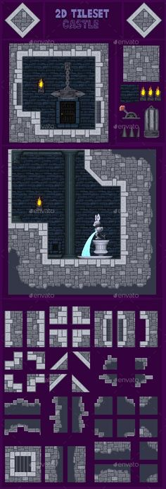 2d Game Tileset Castle - Tilesets Game Assets