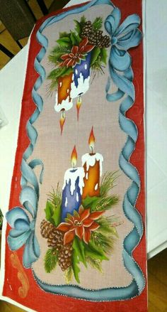 Camino de mesa Navidad Cozy Christmas, Vintage Christmas, Christmas Crafts, Christmas Decorations, Xmas, Christmas Ornaments, Tole Painting, One Stroke Painting, Fabric Painting