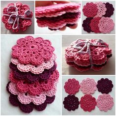 Crochet Flowers Design Coaster pattern in crochet ( translation of directions available ). Need to learn how to crochet. Crochet Diy, Crochet Amigurumi, Crochet Motifs, Crochet Dishcloths, Crochet Home, Love Crochet, Crochet Gifts, Crochet Doilies, Crochet Flowers