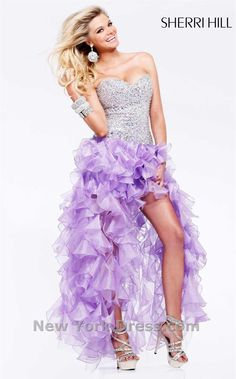 Strapless Ruched & Ruffled Purple Print Sweetheart Asymmetrical ...