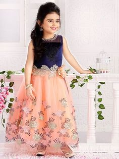 Traditional style embroidered long frock with gorgeous look. This blue & peach dress can be an ideal birthday or wedding party dress. Baby Girl Dress Patterns, Baby Girl Dresses, Baby Girls, Wholesale Children's Boutique Clothing, Indian Baby Girl, Party Wear Frocks, Party Dress, Kids Wear Online, Girls Party Wear