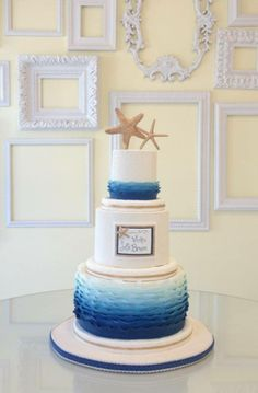 Ocean ombré and starfish wedding cake by A Wish and a Wisk Cakes