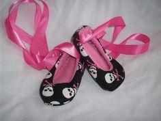 baby ballet skull shoes