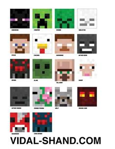 """Minecraft Masks - """"Mobs"""" Included in the DIY set done for a Minecraft party I created. Enderman, Creeper, Zombie, Skeletor, Steve, Duck, Herobrine, Wither Boss, Spider, Slime...Download the PDFs & JPGs @ http://www.playfulmatters.com"""