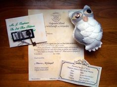 Harry Potter Party. This is a good one. Invitation to Hogwarts, book/supplies list, a key to gringotts for money to buy treats and such, and an owl. How ambitious am I? I have until July