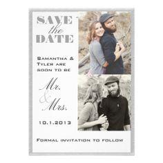 Gray Border Photo Save the Date Invitations