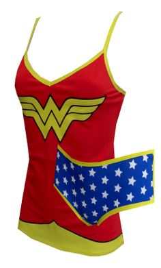 Dc Comics Wonder Woman Cami & Panty Set  Watch out, evil doers! These 95% cotton/5% spandex camisole and panty sets for women resemble Wonder Woman's outfit. The red top has the classic 'W' WonderWoman logo and the panties have white stars on a blue background. Yellow piping creates great definition and contrast. If you ever dreamed of being Linda Carter, now's your chance!