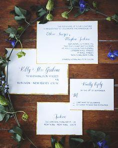 Royal Blue Calligraphy Wedding Invitations