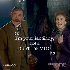 """SHERLOCK (BBC) ~ """"I'm your landlady, not a plot device."""" - Una Stubbs as Mrs. Hudson, pictured here with Martin Freeman as Dr. John Watson in a photo from The Sherlock Special."""