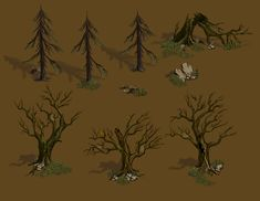 objects/broken tree/dead trees/moss/stump by Lilia-Anisimova on deviantART Tree Trunk Painting, Map Icons, 3d Tree, Real Time Strategy, Digital Painting Tutorials, Fantasy Landscape, Trees To Plant, Game Art, Concept Art