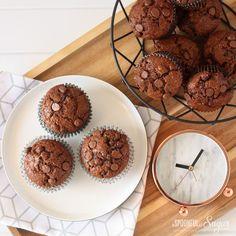 Dobles magdalenas de chocolate por Una cucharada de azúcar