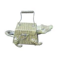 Whimsical Composition Alligator Handbag
