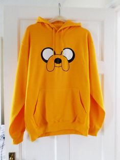 Adventure time character Jake the dog unisex pull over hooded sweatshirt/hoodie Cute Hoodie, Sweater Hoodie, Dog Hoodie, Girls Fashion Clothes, Teen Fashion Outfits, Hoodie Sweatshirts, Cute Comfy Outfits, Trendy Outfits, Stylish Hoodies