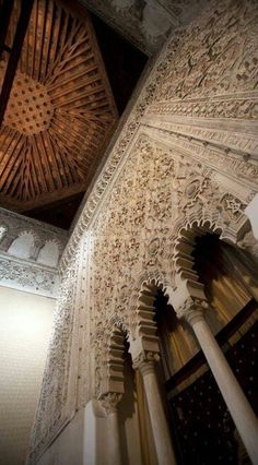 This is a view of the interior of the Tránsito synagogue in Toledo, Spain!
