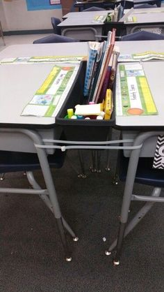Plant box to hold student supplies. Keeps desktops clear. 36 inch zip ties on both sides of desk to prevent from falling.