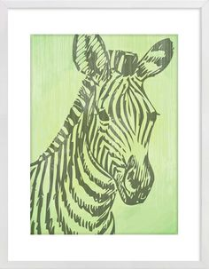 Zebra green Nursery Wall Print to brighten up your kid's room. Artwork prices start at $7.00. #nurserywallprints #zebra #green