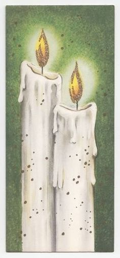 Vintage Greeting Card Christmas Candles Glitter Flames Mid-Century L14 | eBay