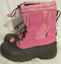 The North Face Boots Girls 7 Medium Pink Gray Removable Felt Liner Toggle cord #TheNorthFace #SnowBoots #Casual