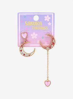Kawaii Jewelry, Kawaii Accessories, Ear Jewelry, Cute Jewelry, Jewellery, Kids Makeup, Magical Jewelry, Pink Moon, Chain Earrings
