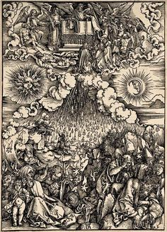 6 DURER, Albrecht (1471-1528) / The Apocalypse [series] #06 of 16 -- The Opening of the Fifth and Sixth Seals / 1496-98 / woodcut durer-apocalypse-06