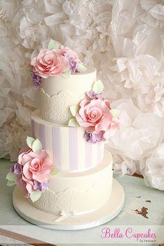 Lace & Stripes pink roses, cake idea, cake design, weddings, bella cupcak, wedding cakes, cupcake decorations, flower, stripe