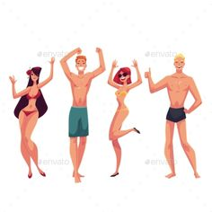 Young people dancing on the beach in swimming suits and shorts, cartoon style vector illustrations isolated on white background. Y