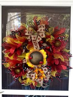 Ladybug mesh WreathSpring WreathSummer wreath by WreathsEtc