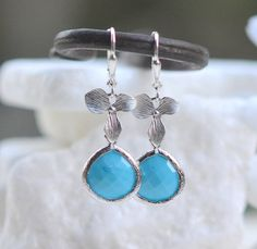 Turquoise Blue Jewel and Silver Orchid Drop Earrings. by RusticGem