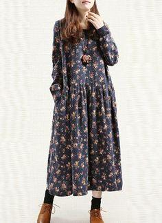 Vestidos Algodón Floral Midi Manga larga