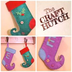 Mini Elf Stockings by TheCraftHutch on Etsy Mini Stockings, Christmas Stockings, Christmas Ornaments, Christmas Is Coming, Craft Fairs, Elf, Fancy, Holiday Decor, Creative