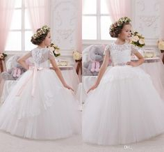 2016 Cheap Flower Girls Dresses For Wedding Ivory White Lace Jewel Neck Short Sleeves Bow Party Princess Children Girls Party Pageant Gowns Online with $73.3/Piece on Haiyan4419's Store | DHgate.com