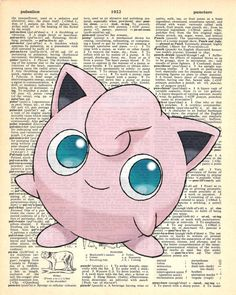 Jigglypuff Pokemon Dictionary Art Print by MollyMuffinsPrints