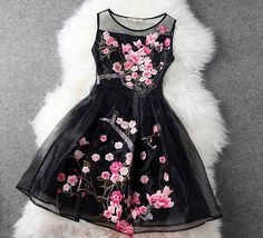 Handmade Embroidered Lace Dress in Black