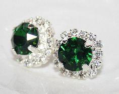 green stud earrings – Etsy